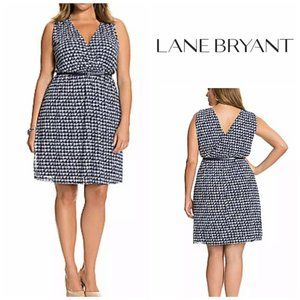 Lane Bryant Blue Houndstooth Faux Wrap Dress